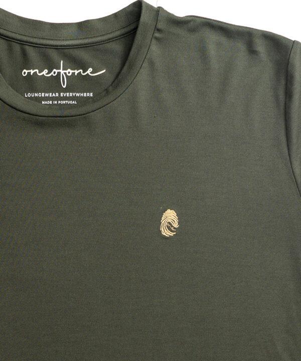 One of One Tshirt Long Sleeve Unisex Olive Detail