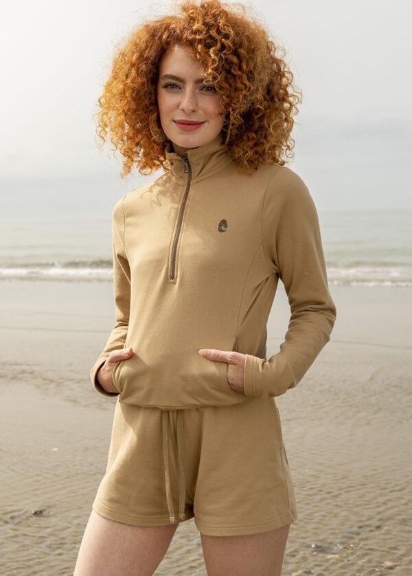 One of One Ziptop Women Camel